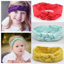 2016 Baby Girl Headbands with Chinese Knot Headbands Elastic Solid Turban Headband Scrunchy for Girls Bandage on Head Children