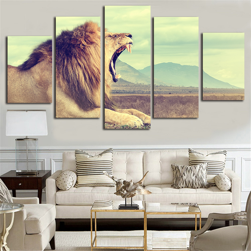 Löwe Muster Leinwand Gemälde 5 Panel Kit Wand Bild Unframe 5 Stück ...