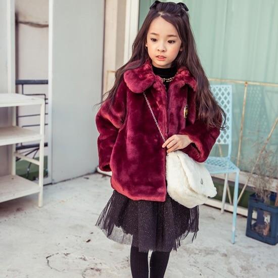 Kids 2016 Autumn&amp;winter girl furry coat Children clothing Girl Faux Fur Jacket Coat<br>