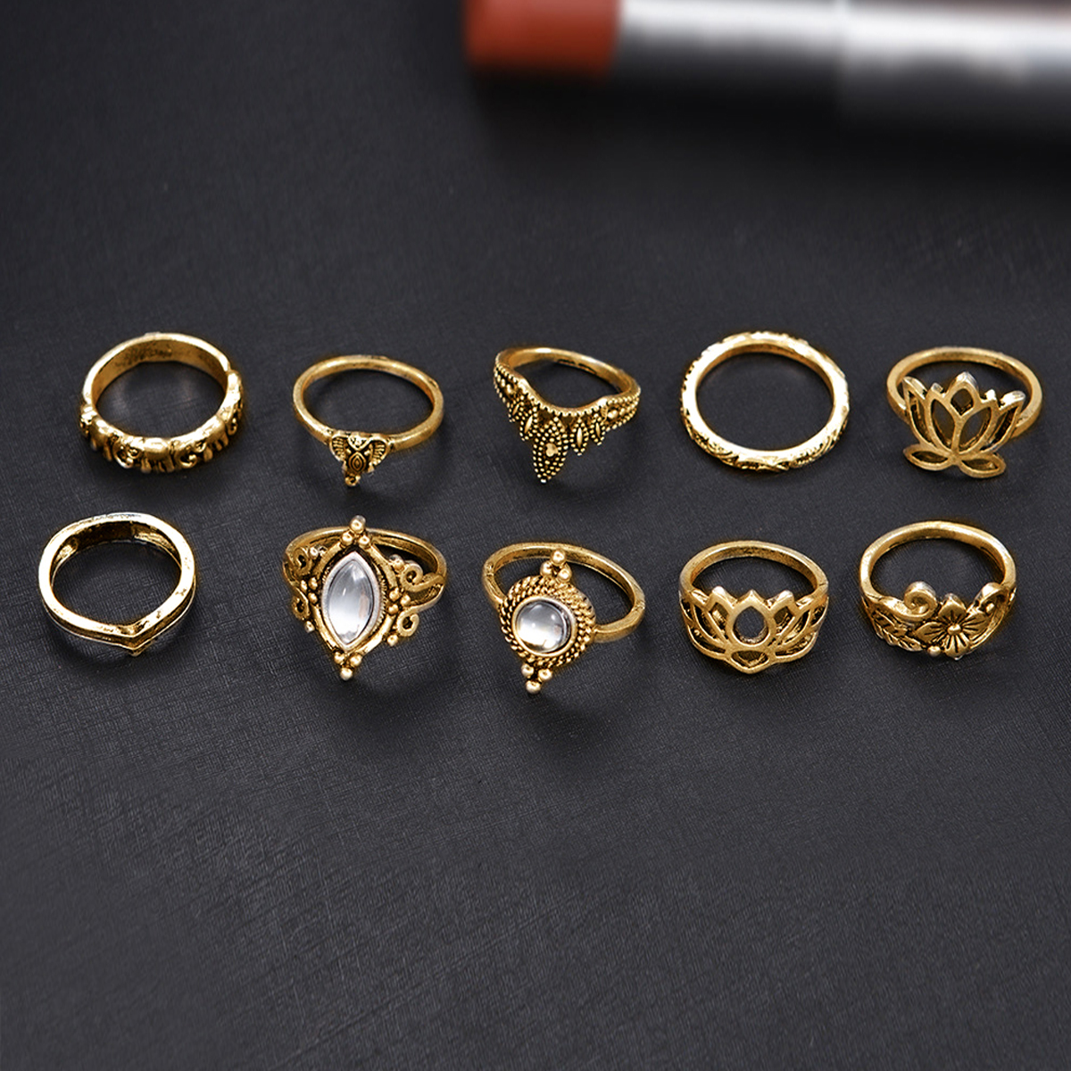 Golden 10pcs/Set Vintage Bohemian Ring Set (Less than 1$ each)