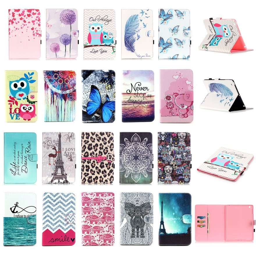 Apple iPad 4 iPad 3 iPad 2 Elephone butterfly Paint Flip PU Leather Stand Case Cover Ipad 4 3 2 tablet wallet cases