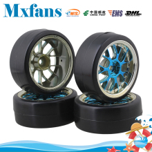 Mxfans 4 x Drift Tires & Y Shape Blue Hub Wheel Rims for RC 1:10 Drift Car Black Plastic