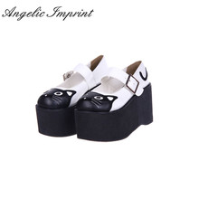 10cm High Heel Platform Lolita Cosplay Shoes Lovely Kitty Mary Jane Shoes(China)