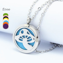 Mushroom Perfume Locket 25/30mm 316L Stainless Steel Essential Oil Aromatherapy Diffuser Locket Pendant Necklace Best Gifts