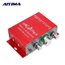 AIYIMA DC 12V Mini Audio Power Amplifier Stereo Car Sound Amplifiers Module 10W+10W 4 ohm HIFI 2.0 Desktop Audio Power Amplifier