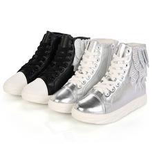 2016 new girls sneakers shoes fashion kids high tops pu leather boots casual shoes wing with crystal girls shoes eur size 26-37