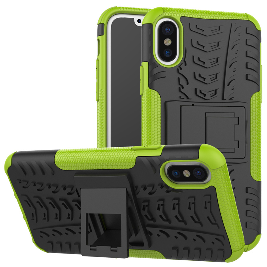 50PCS New arrival Fashion Dazzle Case for iPhone X Armor Slim 2 in1 Kickstand PC TPU Shockproof Case for Apple iPhone X