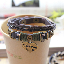 2016 Time-limited Sale Easy-hook Round Handmade Cowhide Braided Bracelet Antique Hematite Jewelry Valentine's Birthday Gift