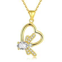 Plated Flying Butterfly Pendant Necklace for Women CZ Zirconia Insect Animal Link Chain Fashion Jewelry