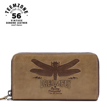 teemzone Dragonfly Series Men Top Genuine Leather Zipper Wallet Brand High Capacity Card Holder Long  Purse Coin Purse Q807-09