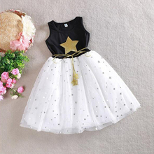 Summer Style Girls Dress Sequin Star Black Childrens Princess Clothing 4 5 6 7 8 9 10 11 12 Year Kids Dresses for Girls(China)