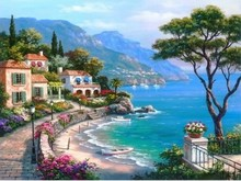 Frameless Landscape Mediterranean Sea Pattern  Kits decor oil paintings for living room wall Coloring oil Painting