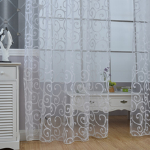 Jacquard Design European Stylehome Decoration Modern Curtain Tulle Fabrics Organza Sheer Panel Window