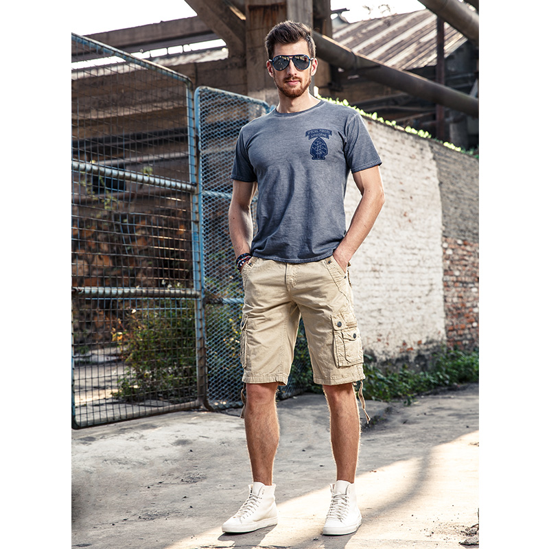 2018 Men Short Pants New Style Summer Multi-pocket Camouflage Mens Shorts Casual Loose Knee-length Mens Cargo Shorts Within Belt