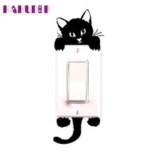 Cat Wall Stickers Light Switch Decor Decals Art Mural Baby Nursery Room DIY poster vinilos paredes  adesivo de parede 60UY