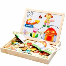 Multifunctional Educational Farm Jungle Animal Wooden Magnetic Puzzle Toys For Children Kids Jigsaw Baby\'s Drawing Easel Board