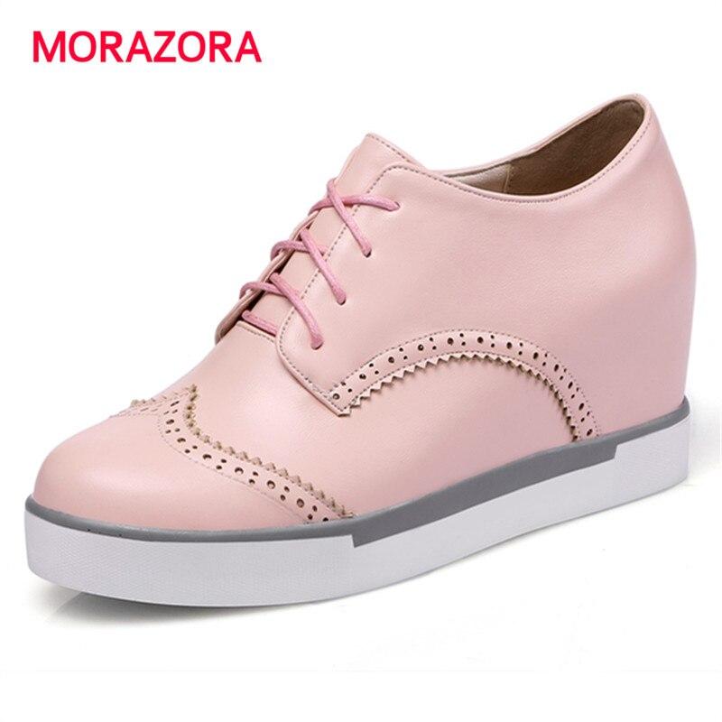 MORAZORA 2017 hot sale shoes woman brogue fashion high heel platform shoes height increasing spring autumn fashion shoes<br>