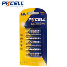 8pcs/card PKCELL Super Heavy Duty 1.5V AAA R03P Carbon-Zinc Primary Battery Batteries