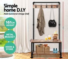 DIY  Industrial Pipe Clothing Rack Store Shelf Hangers Industrial Wrought Iron Clothing Rack Pipes with Pine Wood Shelving