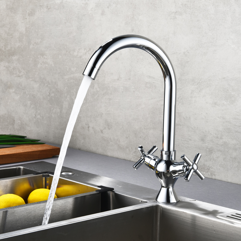 Double handle Kitchen Faucet 360 Degree Rotation R...