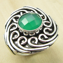 Fancy GREEN ONYX ETHNIC Ring Size US 6.25 ! Silver Plated Fashion Jewelry NEW India Jewelry(China)