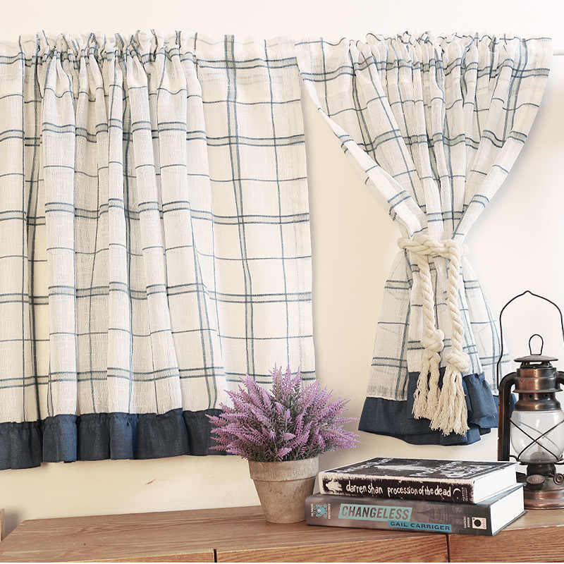 British Half-curtain Blue Plaid Stripes Tube Curtains Cotton Linen Tulle Cut off Cloth Short Curtain for Kitchen Cabinet Door