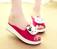 New Summer Women Hello kitty Slippers Casual Style Sandals Creeper Slides Flats yey-0561