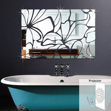 3D Home Decoration Waist Line Acrylic Mirror Wall Stickers Modern Design Living Room Home Decor Sticker Toilet Sticker(China)