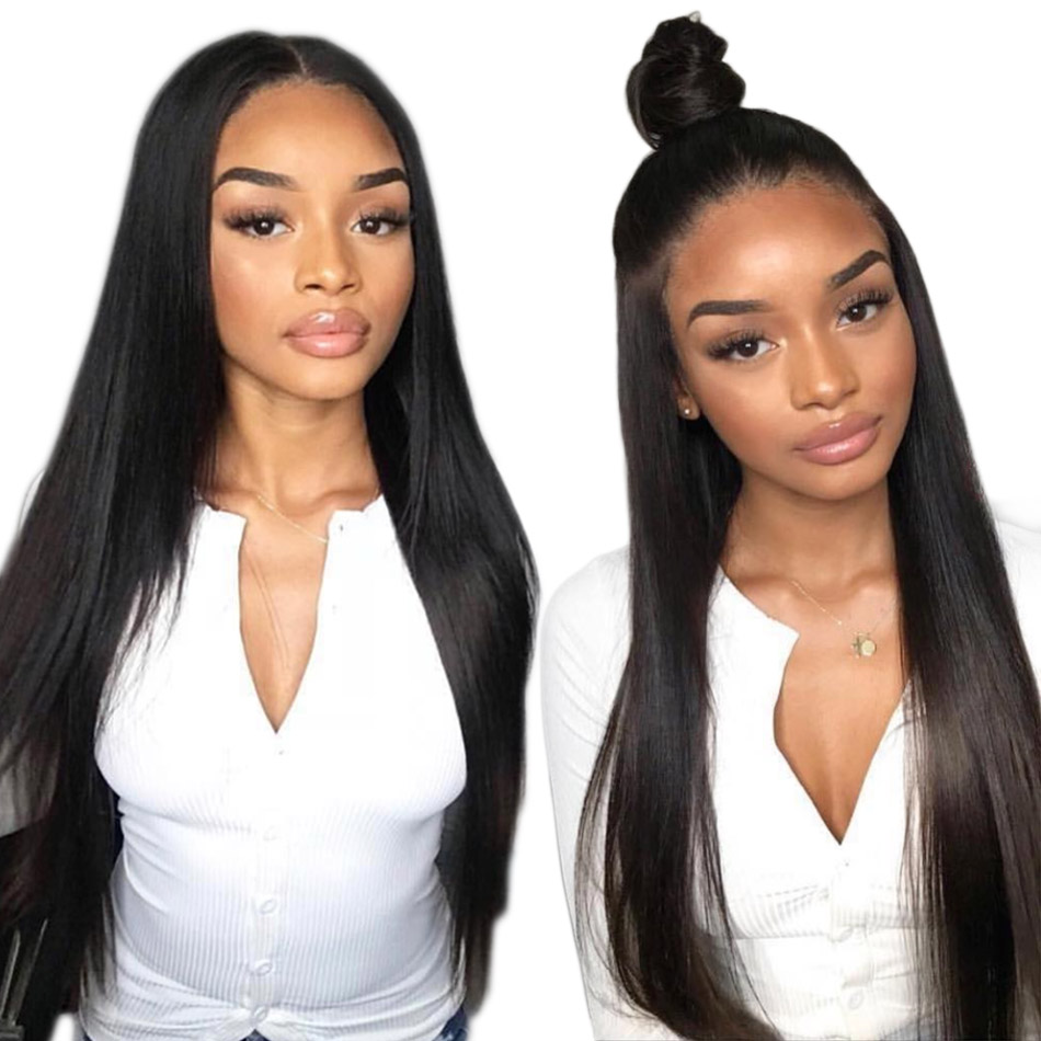 Alibele Straight Lace Front Human Hair Wigs 13x4 Long Short Bob Swiss Lace Frontal Wig 130 180 Density Peruvian Remy Hair Wig(China)