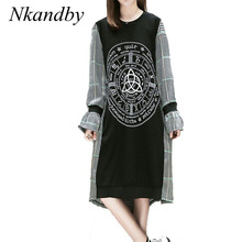 Nkandby 5XL 4XL 3XL Plus size Clothing Autumn Women Casual Loose Long sleeve Plaid Patchwork Print Oversized Mid-Calf Dresses(China)