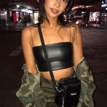 Buy Women Sexy PU Leather Bustier Cropped Top Fashion Camisole Summer Female Sleeveless Tank Top Tumblr Bralette Halter Top Femme