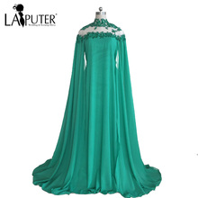 Real Picture Kaftan Beading Appliques High Neck Floor Length Backless Green Chiffon Saree Evening Dress 2017 vestido festa(China)