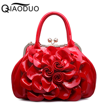 QIAODUO Floral Patent Leather Women Handbags Good Quality Luxury Women Bag Tote Bag Big Flower Casual Female Shoulder Bag A739/g(China)