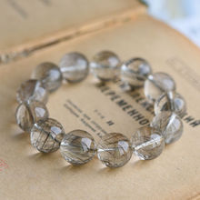 11.5 mm Genuine Natural Silver Rutilated Quartz Crystal Stretch Beads Bracelet(China)
