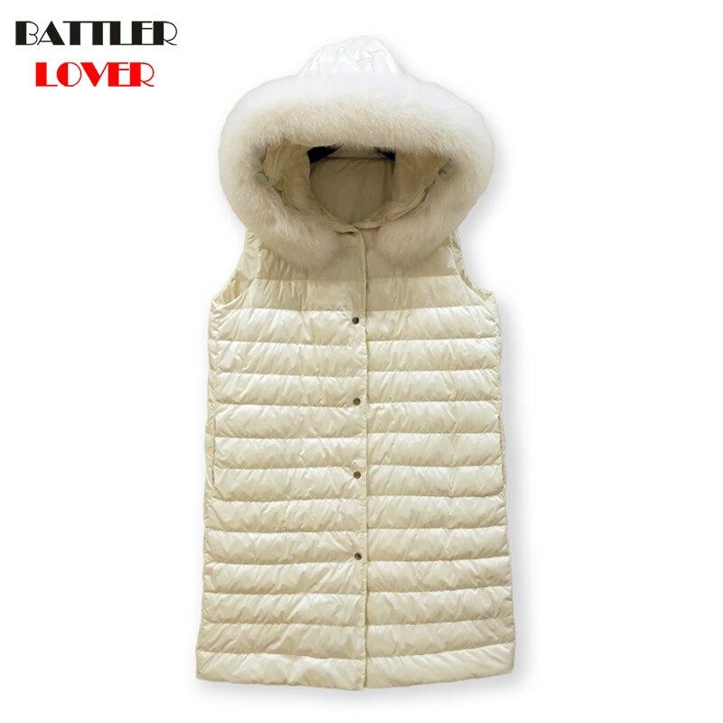Fox Fur Winter Light Down Coats Womens Sleeveless Hooded Ultralight White Duck Down Jacket Ladies Wadded Coat Females Long Parka