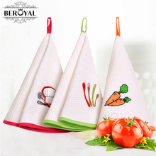 New 2017 High Quality Round Towel 3PC 100% Cotton Kitchen Towel Embroidered Hand Towel Dishcloth Kitchen Hanging Towels(China)