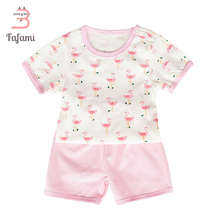 Baby girl clothing sets Pink Flamingos Baby clothes newborn girl summer tops kids clothes children combed cotton tshirt bebe