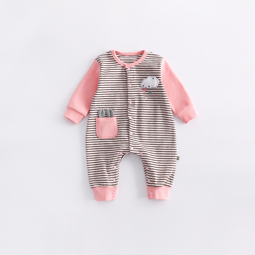 peninsula baby cute cloud Baby striped Rompers new autumn Kid climb clothes thick cotton Long Sleeve Warm baby jumpsuit <br>