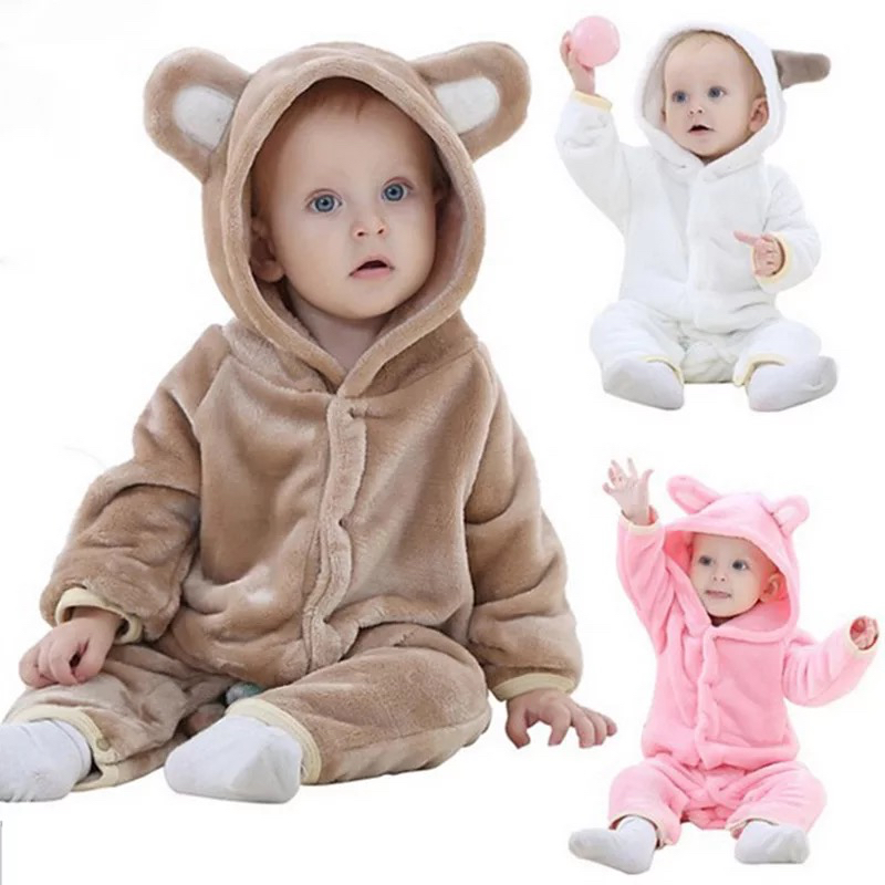 Winter Baby Rompers Warm Baby Girl Clothes Baby Boy Clothes Roupas Bebe Infant Jumpsuits Children Clothing Home Bear Cartoon