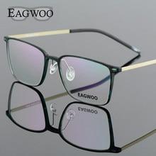 82847f3574 EAGWOO EMS titanio puro chica hombres Full Rim marco óptico prescripción  espectáculo cuadrado miopía gafas 890022