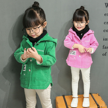 Girls child corduroy outerwear 2016 spring and autumn cardigan autumn child autumn girls top girls coat(China)