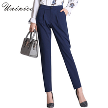 2017 Spring Women Harem Pants Women Bottoms Black Navy Blue Trousers Women Pencil Pant Fashion Slim OL Style Black Suit Pants