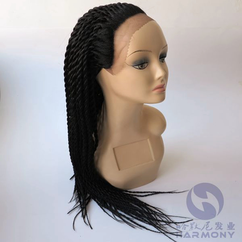 New style black color 30inch front lace Wigs hand braided synthetic Senegalese Twist micro braid wig for black women<br><br>Aliexpress