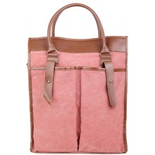 New Arrival Womens Leather Canvas Crossbody Tote Bag Fashion Large Square Design Women Handbag Best Seller Shoulder Bag(China)