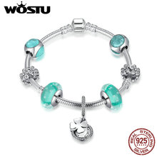 WOSTU New Real 925 Sterling Silver Clover Daisy Green Living Beads Charm Bracelet For Women Luxury Jewelry Fashion Gift CRB013(China)