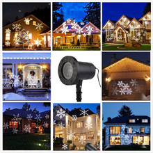 Waterproof Moving Snow Laser Projector Lamps Snowflake LED Stage Light For Christmas New year Party Light Garden Lamp(China)