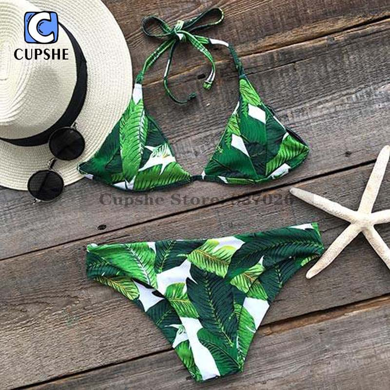Cupshe Tropical Forest Palm Leaves Bikini Set Womens Sexy Beach bikini Monokini Swimsuit Women<br><br>Aliexpress