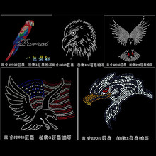 Parrot eagle birds hotfix Iron Applique DMC round crystal rhinestones sweater clothing T-shirt chest decoration sequins HA