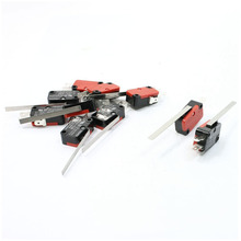 10 x End Racing Hinge Lever Long Straight Arm Snap Action Microswitch Red + Black