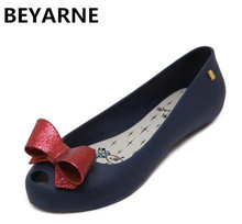 BEYARNE Fashion woman lovely bowtie jelly rain flat shoes fish mouth lady travel sandals women summer beach sandals size 36-40(China)